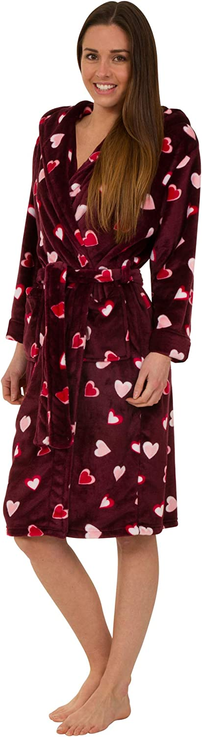 Florentina Women's Soft Hooded Robe with Hearts Design