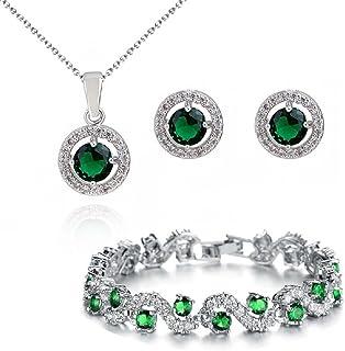 Rotondo Verde Smeraldo simulato Cristalli austriaci di zirconi Purare Collana con Ciondolo Orecchini Bracciale 18 kt Placc...