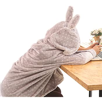 IKENOKOI 着る毛布 マイクロファイバー フランネル ふわふわ ポンチョ ボタン ジッパー構造 仕事 勉強 昼休み 防寒 学生 可愛い (水玉グレー)