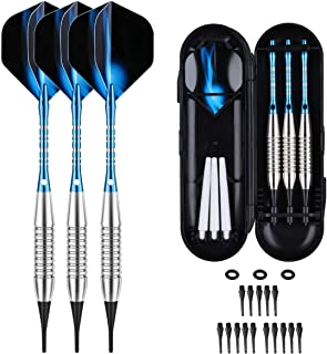 Darts Plastic Tip Set - 18g Soft Tip Darts - 16g Dart Barrels w/o-Rings + 6 Shafts(Aluminum & White Plastic Rods + Extra 30 Replacement Soft Tips Accessories for Electronic Dart Board