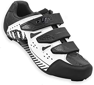 Hiland Indoor Spinning & Road Bike Cycling Shoes Wide Version for Men Women Black White