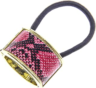 Ponytail Cuff Holder, Stretchy Elastic Hair TieCuff Wrap for Womens and Girls Medium Thick Hair, Red Snakeskin