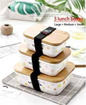 Bamboo Cover Lunch Box Japanese Ceramic Microwave Sealed Food Box Adult Lunch Box Refrigerator Storage Box