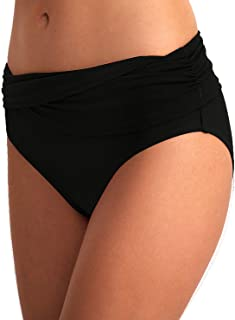 Women's Bikini Bottom Front Crossover Retro Bikini Bottom Tankini Briefs Swimsuit Panty Bottoms (Mid Rise)