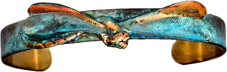 Verdigris Patina Solid Brass Realistic Dragonfly Skinny Cuff Bracelet