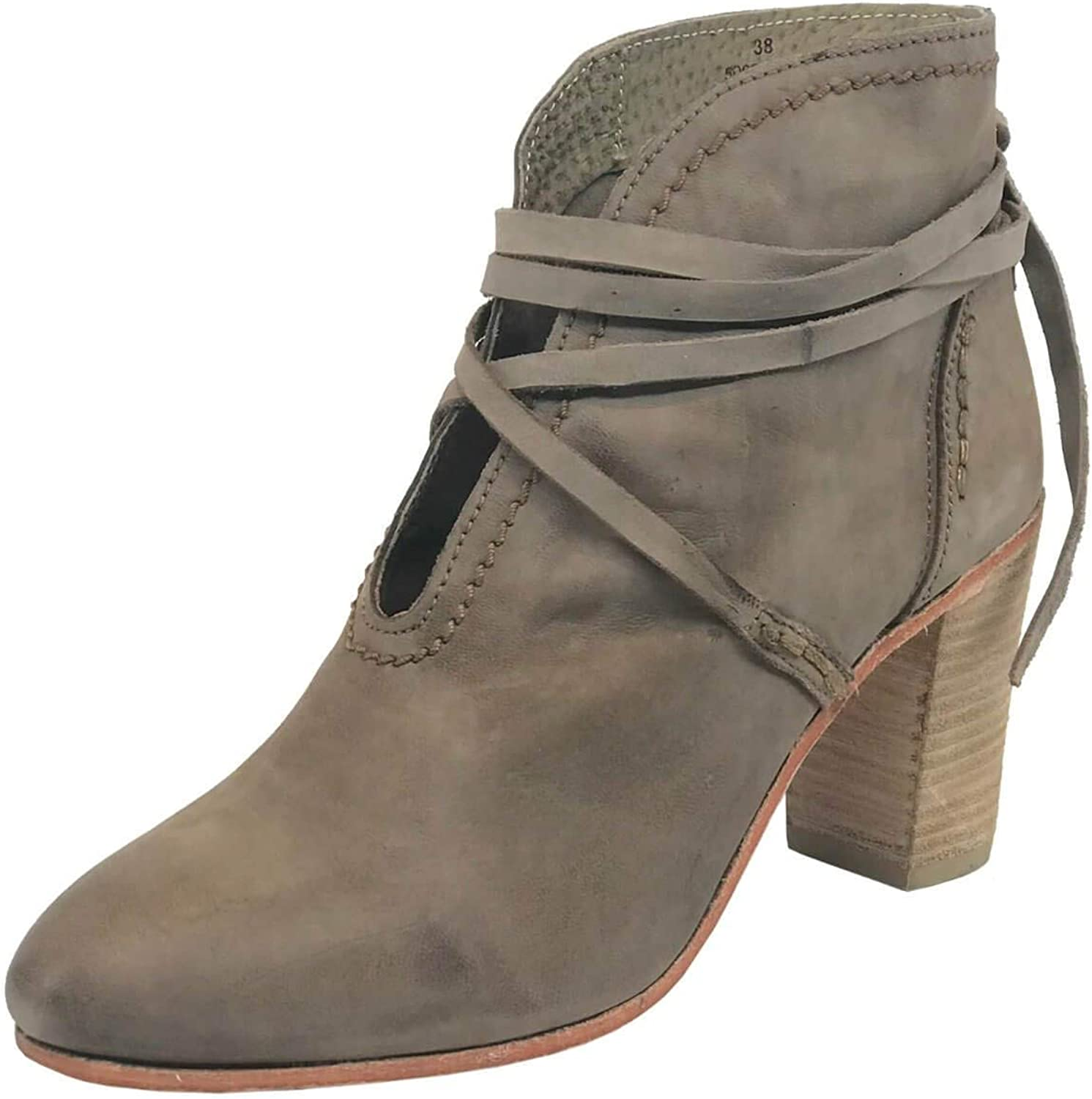 Free People Womens Wrap Around Heel Boot Leather Closed Toe Ankle Fashion Boots