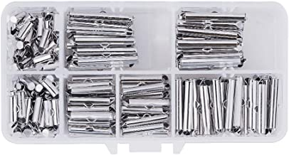 PH PandaHall 200pcs 5 Sizes Platinum Iron Slide On Clasp End Tubes Clasp Slider End Caps Crimp for Jewelry Making Clasps(10mm, 13mm, 20mm, 25mm, 30mm)