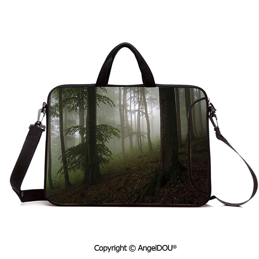 AngelDOU Neoprene Laptop Shoulder Bag Case Sleeve with Handle and Extra Pocket Mysterious Woods with Fog Wilderness Rural Untouched Vegetation Transylvania Compatible with MacBook/Ultrabook/HP/Acer/