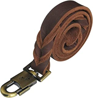 kgt Genuine Leather Braided Dog Training Leash Heavy Leather Duty Lead for Larger Dog