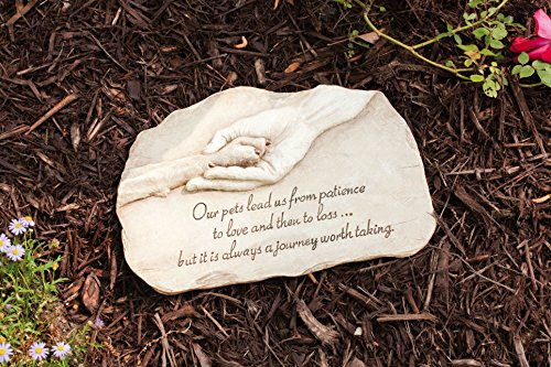 Evergreen Garden Dog Paw in Hand Devotion Painted Polystone Stepping Stone
