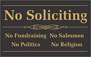 No Soliciting Sign - 2 Pack - 4 x 2.5 inches - Self Adhesive Stickers for Indoor & Outdoor Use, Waterproof - No Fundraising, Salesmen, Politics, Religion