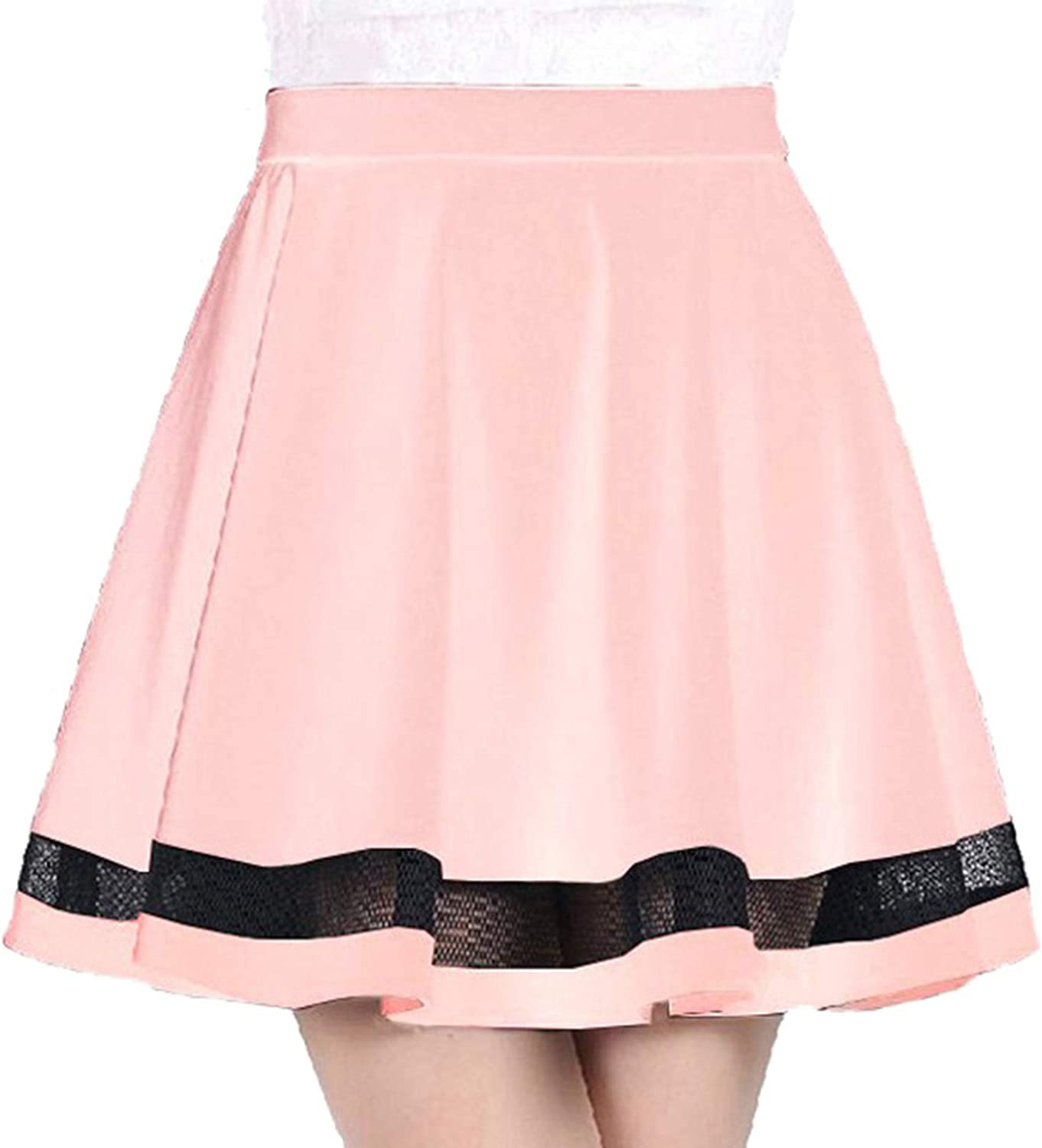CHICTRY Women's Basic Elastic High Waisted Stretchy Flared Casual Mini Striped Skater Skirt