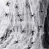 MUXItrade 60g Tela de Araña con 30 Arañas Decoraciones de Halloween Telarañas Haunted House Arañas de Plástico de Halloween Negras para Materiales de Fiesta de Halloween o Disfraces (1 Set)