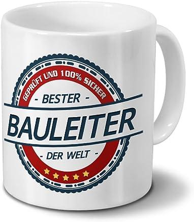 Preisvergleich für Tasse mit Beruf Bauleiter - Motiv Berufe - Kaffeebecher, Mug, Becher, Kaffeetasse - Farbe Weiß