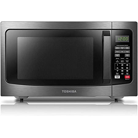 Toshiba EM131A5C-BS Microwave Oven with Smart Sensor Easy Clean Interior, ECO Mode and Sound On-Off, 1.2 Cu. ft, Black Stainless Steel