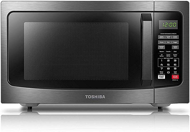 Toshiba EM131A5C BS Microwave Oven With Smart Sensor Easy Clean Interior ECO Mode And Sound On Off 1 2 Cu Ft 1100W Black Stainless Steel