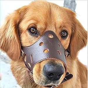 easylifer Muselière en cuir pour chien réglable respirant masque de sécurité Pet Puppy Muselières pour mordre et d'aboyer