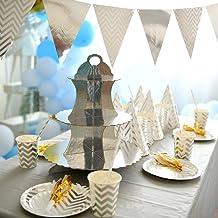 لافتة تزيين حفلات أعياد الميلاد للأطفال ذات جودة عالية مجموعة أدوات مائدة للاستعمال مرة واحدة فضية ديكور للحائط