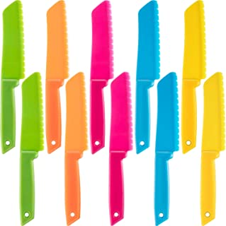 Jovitec 10 Pieces Plastic Nylon Knife Kitchen Set for Kid, Children Toddler Cooking Knives, Safe Knives for Bread without BPA, Lettuce Knife and Salad Knife
