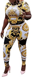 FSSE Women Dashiki African Print Two Piece Crop Top and Skinny Leggings Plus Size Club Outfits