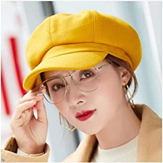 WYMAI Hat Female Autumn and Winter Fashion Wild Student Autumn Beret Winter Octagonal Cap Various Styles Simple and Practical Product (Color : Orange)