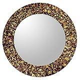 NOVICA Espejo con Marco de Mosaico de Vidrio Marca, diseño rocío Dorado -Parent(259598-P), Spalsh Dorado, 1