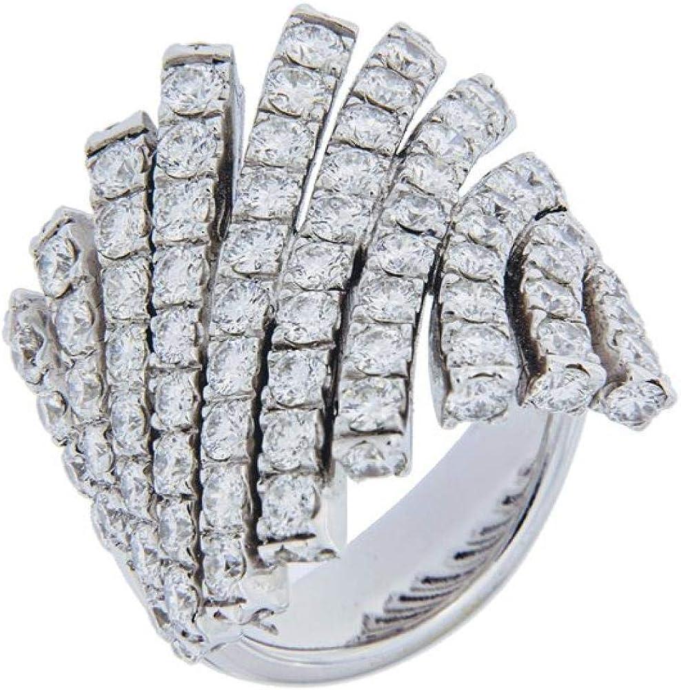 Chimento,anello a fascia per donna in oro bianco 18 kt(14,7gr), , con inserto di diamanti con caratura di 4,70 1A08243BB5140