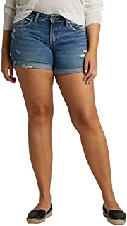 Silver Jeans Co. womens Plus Size Mid-Rise Boyfriend Short Denim Shorts