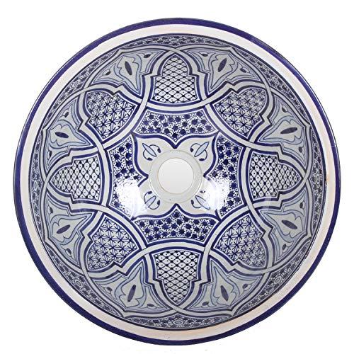 Mediterrane Keramik-Waschbecken Fes93 rund Ø 40 cm bunt Marokkanische Aufsatzwaschbecken handbemalt Handwaschbecken für Küche Badezimmer Gäste-Bad Einfach schöner Wohnen