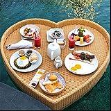 Bandeja flotante de ratán, mesa redonda de lujo tejida de ratán de lujo, mesa con agujero de mano, para fiestas de Sandbar para fotografía de boda-Beige-Heart