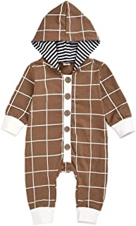 HAPPYMA Baby Boy Hoodie Romper Clothes Long Sleeve Plaid Stripe Crawling Suit Infant Button Jumpsuit Fall Outfit