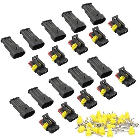 Runcci Yun10 Set Wasserdicht Schnellverbinder Kabel Steckverbinder Stecker Für Kfz Lkw Auto Kayak Boote Roller Motorrad 3 Polig 10 Baumarkt