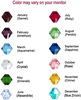 50 Bicone Swarovski #5328 Crystal Beads Birthstone Colors of each Month - Made in Austria (6mm, July – Ruby)