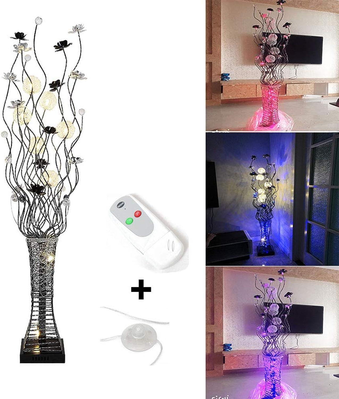 LIHUA Moderne Stehleuchte LED-Stehleuchte, Dimmbare Standardlampe Stehleuchte mit Fernbedienung und Fuschalter, Vase Dekorative Kristall-Stehlampe