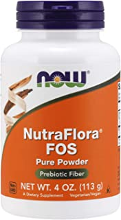 NOW Supplements, NutraFlora FOS (Fructooligosaccharides) Pure Powder, Prebiotic Fiber, 4-Ounce