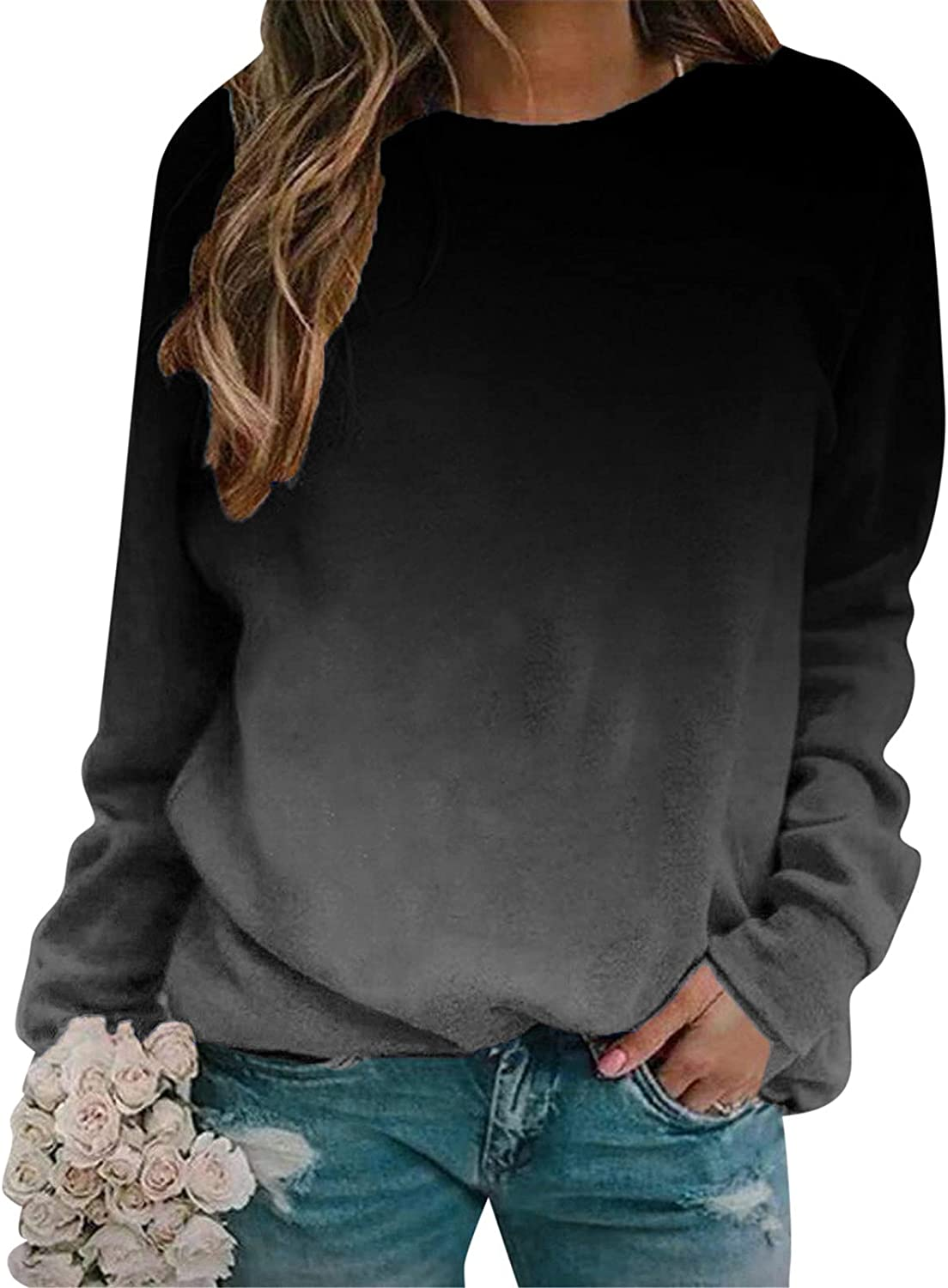 UOCUFY Tops for Women Long Sleeve, Womens Long Sleeve Sweatshirts Tops Casual Cute Graphic Crewneck Pullover Blouses