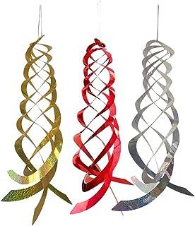 Bestonzon 3PCS Bird Spiral Reflectors Silver Mylar Spinner Hanging Reflective Bird Device Keeps Woodpeckers and Birds Away