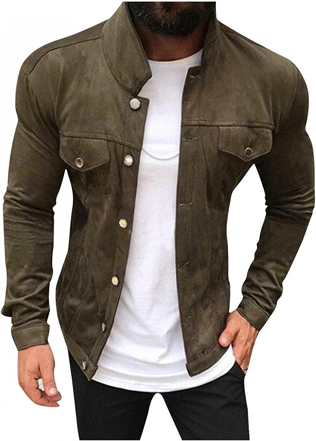JSPOYOU Mens Trucker Jacket Big & Tall Stand Collar Button Down Cargo Coats Casual Slim Fit Bomber Jackets