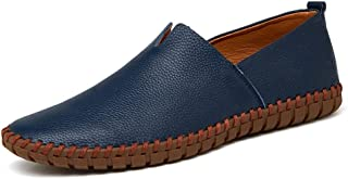 QinMei Zhou Loafers for Men Casual Shoes Slip-on Flat Stitching Anti-Slip Genuine Leather Driving Breathable Round Toe Handmade Solid Color (Color : Blue, Size : 10 UK)