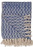 IB Laursen Plaid blau Creme Harlekinmuster Decke Tagesdecke Überwurf Kuscheldecke Tischdecke Allro&decke Sofadecke