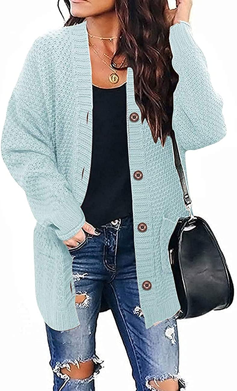 Womens Plus Size Long Sleeve Button Down Cardigans Open Front Chunky Knit Casual Sweater Outwears with Pockets
