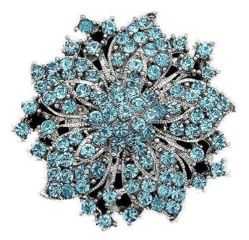 Bella novia de flores broche con piedras de estrás turquesa (BR054turq)