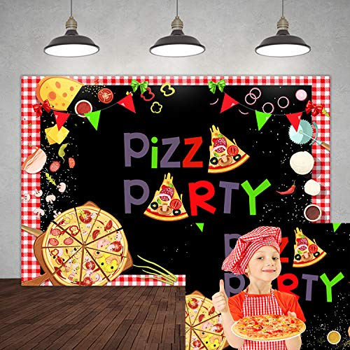 5×3ft Pizza Party Photo Backdrop Kids Cooking Theme Birthday Party Banner Decorations Dessert Children Baby Shower Newborn Red Background for Photography Cake Table Supplies Portrait Photo Props