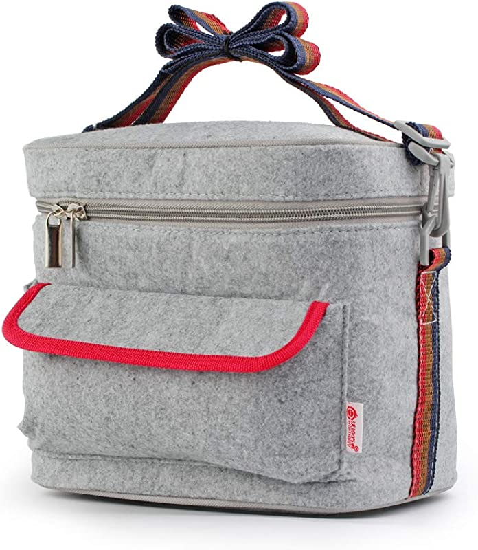WORTHBUY Lunch Bag For Women Kids Lunch Box Insulated Lunch Tote Bag With Adjustable Shoulder Strap Water Resistant Leak Proof Work School Picnic Gray