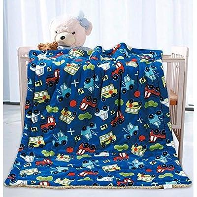 Erosebridal Cartoon Excavator Flannel Blanket Equipment Truck Sherpa Blanket for Kids Boys Girls Children Construction Tractor Throw Blanket Vehicle Bed Blanket Kids Car Theme Room Baby 30X40
