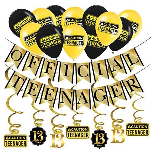 13. Geburtstag Dekorations Official Teenager (Englische Sprache) – Goldene & Schwarze Deko-Set Geburtstag, Luftballons und Spiralgirlande – Party Zubehör