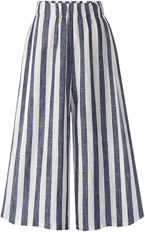It's a big deal Elastic Waist Wide Leg Cotton and Linen Stripe Pants Spring Summer Beach High Waist Capris Trousers
