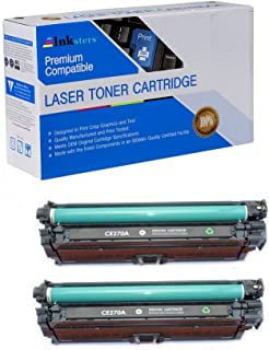 Inksters Compatible Toner Cartridge Replacement for HP 650A (CE270A) Black - Compatible with Color Laserjet Enterprise CP5525 CP5525DN CP5525N CP5525XH (2 Pack)