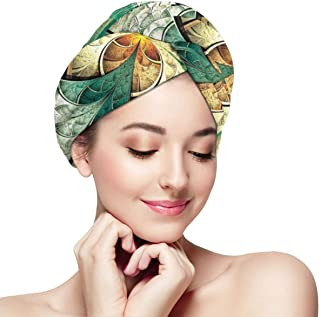 Quick Dry Hair Wrap Towels Turban,Computer Art Featured Surreal Flowers Dreamy Imaginary Creative Concept,Absorbent Shower Cap