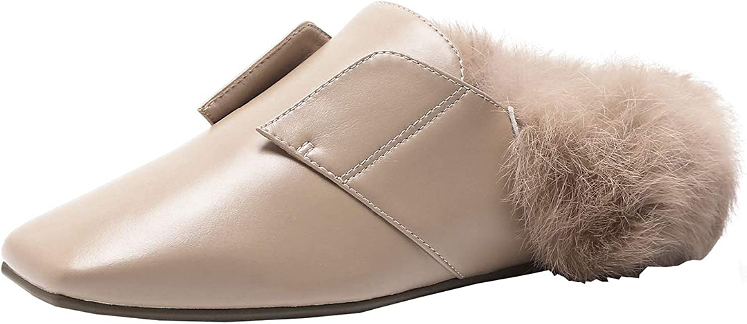 Artfaerie Womens Flats Mules Slippers with Faux Fur Square Toe Backless Slip On Slingback Loafers